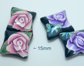 Pillow polymer beads / Sold by pair