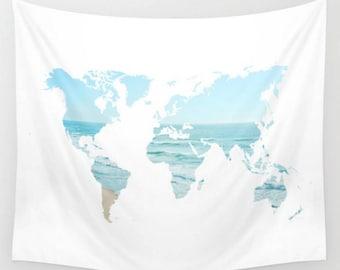 Ocean Beach World Map Wall Tapestry Dorm Room Apartment Boho Home Dress Up Your Wall  Decor