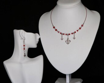 Silver and Swarovski Fleur de Lis Choker Necklace and Earring Jewellery Set