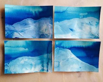 Handmade Underwater Mountains, Textured NoteCards- Set of 4