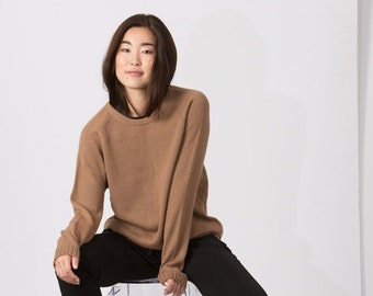 Woman pullover / alpaca jumper / adult knit pullover / baby alpaca wool pullover / camel sweater / gray wool sweater / woman wool jumper