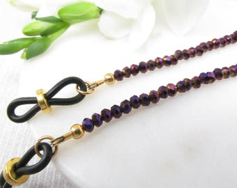Glasses Chain in Royal Purple Crystals with Sparkle; Eyeglass Chain; Chain for Readers; Glasses Necklace Holder; Glasses Leash; Glasses Cord