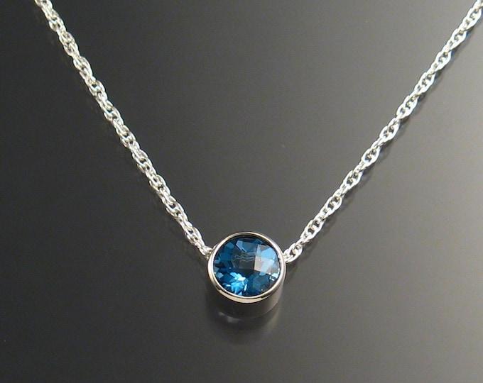 Blue Topaz Necklace, Sterling Silver