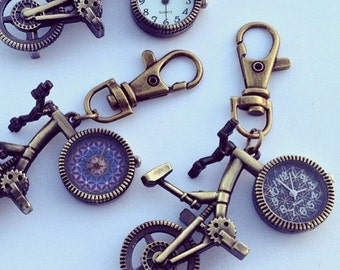 Flower Of Life Bicycle Pocket Watch Keychain