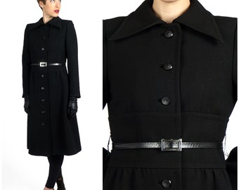 Vintage 1960s Black Fitted Wool Coat Jacket by Gunter Project 2    XS Small
