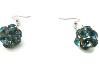 Earrings pendant balls tranlucide Blue shiny rhinestones