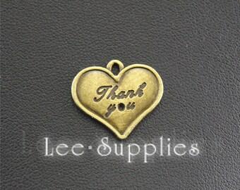 10pcs Antique BronzeThank You Love Heart Charms Pendant A1423