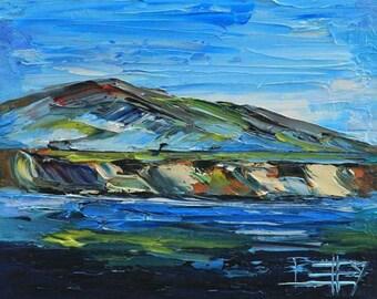 Beach Art, Monterey Bay, California Art, Beach Painting, California Artwork, Carmel, Point Lobos, California, Landscape Painting,Sailboats
