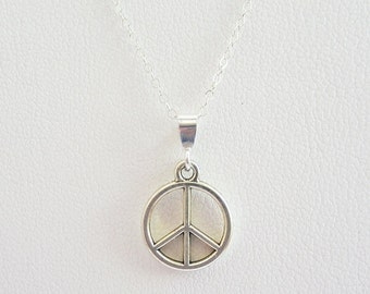 Small Peace Sign Silver-Plated Pendant Charm and Necklace - Peace Sign Pendant, Peace Sign Charm, Peace Sign Necklace, Small Peace Sign