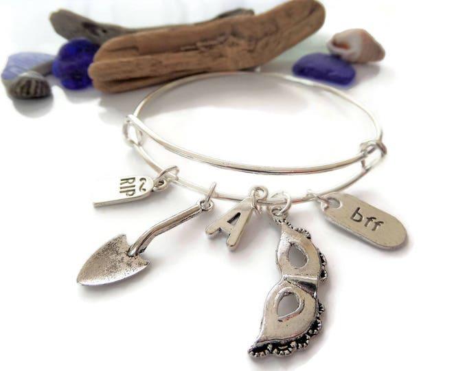 Pretty Little Liars bangle, pretty liars bracelet, liars charm bracelet, mask gift, spade gift, rip gravestone gift, best friend gift