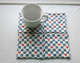 blue and white checks with hearts vintage fabric  hand quilted set of mug rugs coasters