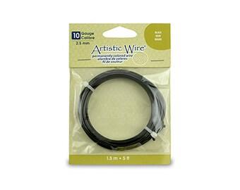 Artistic Wire Black 10 gauge Round 5 feet 43051 Thick Round Wire, Jewelry Wire, Craft Wire, Copper Wire, Wire Wrapping 10ga Soft Temper Wire