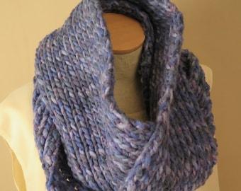 Knit Cowl Hand Knit Cowl Blue Wool Acrylic