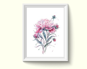 Peony Flower Watercolor Painting Poster Art Print P371