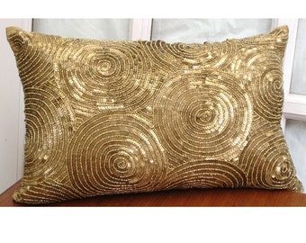 Decorative Oblong Lumbar Throw Pillow Cover Accent Pillow Couch Sofa 12x16 Inch Gold Silk Pillow Embroidered with Sequins - All Eyes On Gold