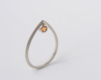 Triangular Silver and Citrine Drop Ring