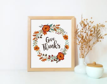 Thanksgiving printable, Give thanks wall art, Give thanks, Thanksgiving decor printable, Thanksgiving art, Fall decor, Fall printable