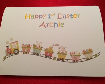 handmade personalised easter card easter chick card son
