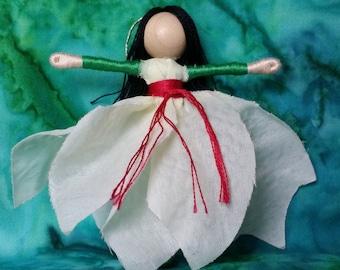 Dancing Poinsettia Flower Fairy - Christmas Fairy, Waldorf Flower Fairy Doll