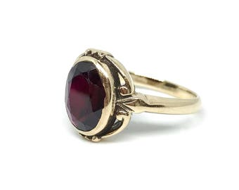 Vintage 10k Gold and Garnet Ring, C. 1940-1950, Vintage Ring, Rothman & Schneider,  Womens Vintage Ring, Garnet Ring