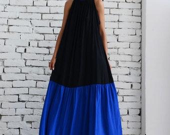 Black Maxi Dress/Plus Size Kaftan/Long Blue Dress/Loose Casual Dress/Oversize Black Dress/Plus Size Maxi Dress/Sleeveless Collar Dress