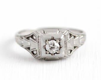 Sale - Vintage Diamond Ring - Antique 18k White Gold Art Deco 1/5 CT Diamond - 1930 Sz 7 1/4 Filigree Fine Engagement Bridal Etched Jewelry
