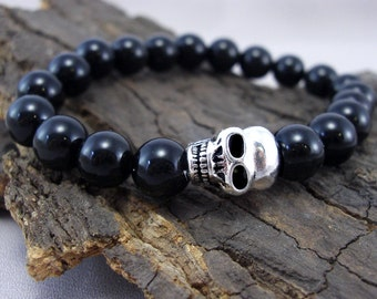 Bracelet Skull and Black Onyxperlen