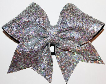 GORGEOUS Silver Iridescent Allstar Cheer Bow by Funbows Wow