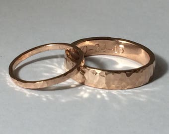 Rose gold wedding band set, his and hers , wedding rings, rose gold rings