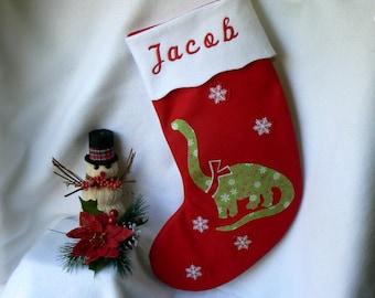 Personalized Christmas Stocking Dinosaur Christmas Stocking Traditional Red Felt Christmas Stocking Kids Christmas Stocking Christmas Decor 
