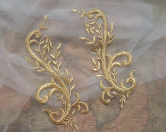 Gold Lace Applique, Cosplay Design Lace Applique in Gold, Gold Bridal Lace Applique