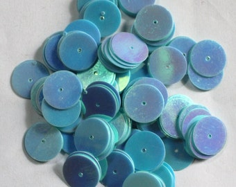 100 pcs Shiny Blue Color Sequins/Round Shape/ KBRS551