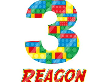 Block Birthday Number Personalized Printabke Digital Download for creating your iron-ons, heat transfer,  DIY, YOU PRINT