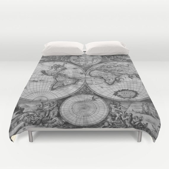 Old world map duvet cover vintage world map bedding map gumiabroncs Image collections