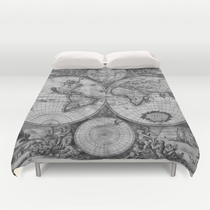 Old world map duvet cover vintage world map bedding map bedspread old world map duvet cover vintage world map bedding map bedspread cover greyscale black and white world map decor guest room dorm gumiabroncs Gallery