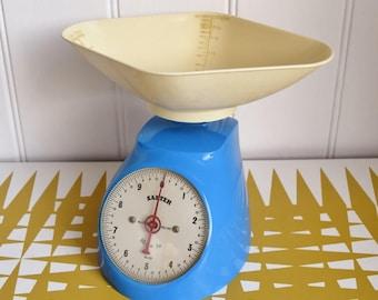 Vintage Blue Salter Kitchen Scales - Retro kitchen, weighing, baking, cooking
