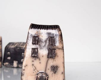 Cracle Raku fired Ceramic house Hand sculpted Unique Ceramics  Architectural Home decor,