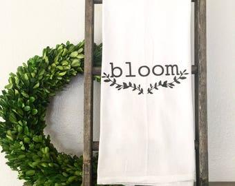 Bloom Tea Towel Flour Sack Towel Hand Towel Spring Flowers Farmhouse Kitchen Cottage Shabby Chic