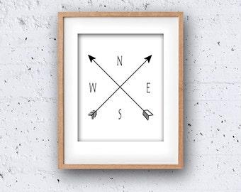 Compass PRINTABLE Wall Art North South East West Arrows Digital Instant Download Modern Decor Adventure Travel Art Black White Wanderlust