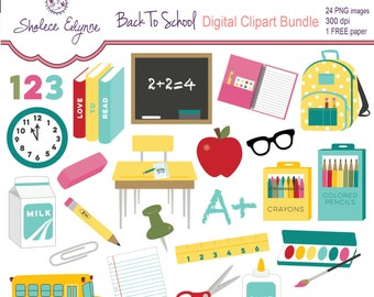 Back To School Clipart plus Free Paper, Instant Download