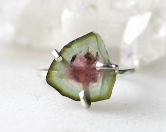 tourmaline ring, diamond ring, raw diamond ring, organic ring ,raw stone jewelry, sterling silver, recycled silver