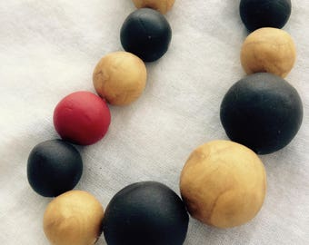 Red, Gold and Dark Brown Handmade Clay Bead Necklace, Boho Clay Bead Chunky Necklace