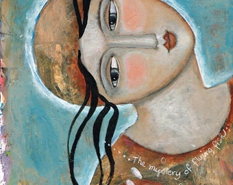 Special Price Mixed Media Painting Print  Modern Folk Art  Expressive