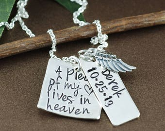 A Piece of my Heart is in Heaven Necklace, Memorial Necklace, Remembrance Necklace, Loss of Child, Loss of Parent, Angel Wing Necklace