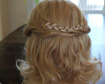 Gold Leaf Rhinestone Bridal Headband,Bridal Accessories,Boho Wedding Accessories,Gold Hair Vine,Bridal Headpiece,#HV45