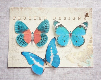 Butterfly hair clips, hand cut from silk with Swarovski Crystals - Choose your own mix!