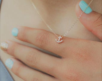 Ultra Tiny Anchor Necklace, Silver or Gold Anchor Necklace, Anchor Necklace, Dainty Necklace, Delicate Jewelry, Gold Layering Necklace