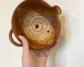 Pottery Bowl with Spout and Handle