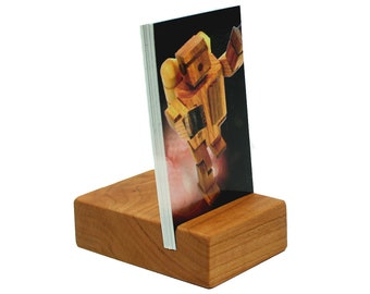 Cherry Vertical Business Card Holder, Wooden Card Holder, Wood Business Card Holder, Business Card Stand, Photo Holder
