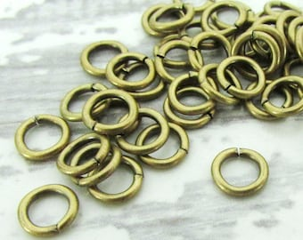 6mm Brass Jump Rings, 18g, 100pcs, Antique Brass Jumprings, Open Antique Gold Jump Rings, Charm Connectors, Jewelry Findings, 18 gauge